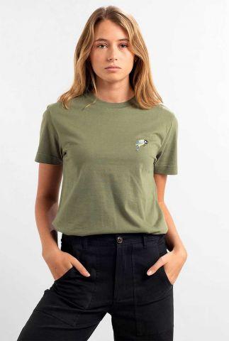 groen t-shirt met geborduurde vogel mysen little bird 17991