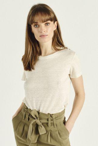 crème kleurig linnen t-shirt met ronde hals augusto 58114