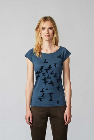 blauw t-shirt met vogelprint hitchcock denim blue 06220