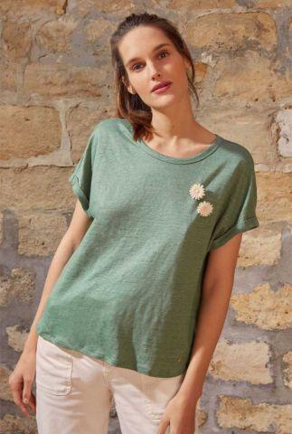 groen linnen t-shirt met ronde hals en korte mouwen janie