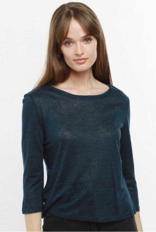 linnen top met 3/4 mouwen en ronde hals t-shirt maegan 60234