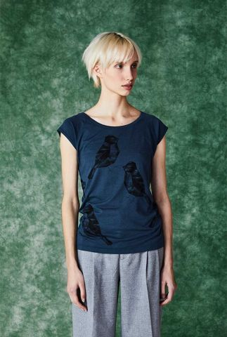 donkerblauw t-shirt met vogel print two birds denim blue 30331