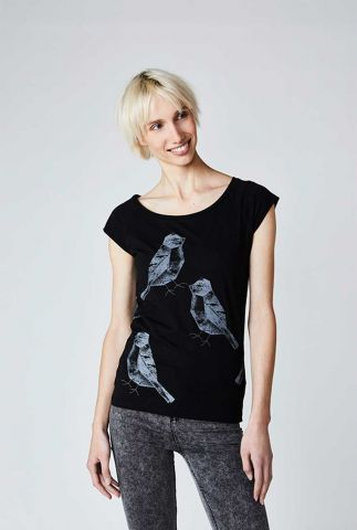 zwart t-shirt met grafische vogel print two birds black 30332
