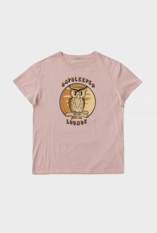 licht roze oversized t-shirt met uil print tina owl 131748