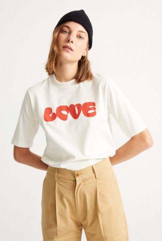 wit biologisch katoenen t-shirt met rode opdruk love t-shirt wts00242