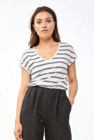 gestreept t-shirt van linnenmix met v-hals dessin mila linen stripe