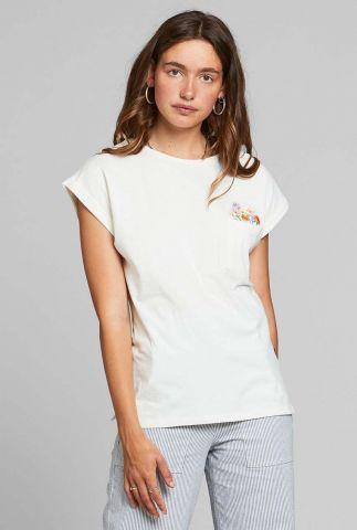 wit t-shirt met geborduurde bloemen visby flower pocket 18326