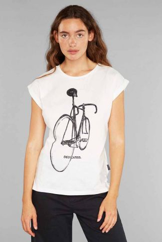 wit katoenen t-shirt met getekende fiets opdruk visby pencil bike 19208
