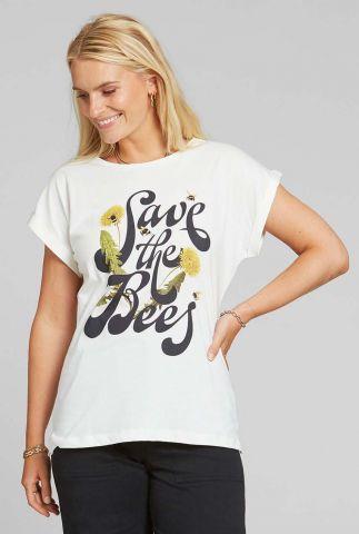 wit t-shirt met sierlijke tekst opdruk visby save the bees 18350
