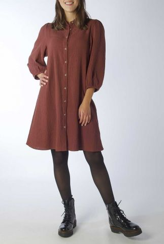 bordeaux rode a-lijn jurk van wafelstof taimi