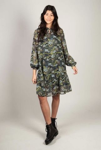 semi-transparante jurk met gekleurde bloemenprint talena