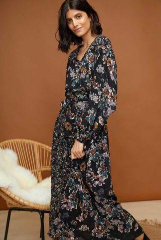 zwarte maxi jurk met bloemen dessin tamou
