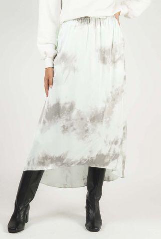 lichtgroene midi rok met dip-dye dessin tandra skirt