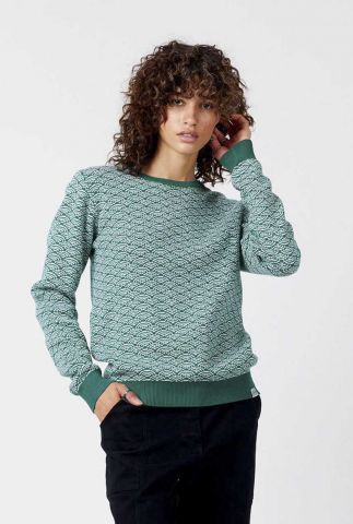 groene trui met ingebreid dessin tara jumper