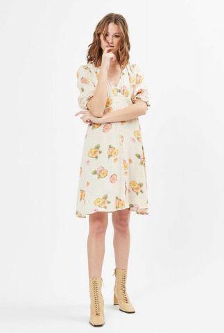 ecru kleurige viscose jurk met bloemen dessin tavila 1710