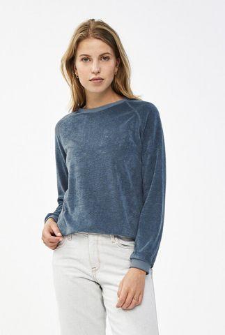 zachte blauwe sweater van badstof stof teddy slub sweater