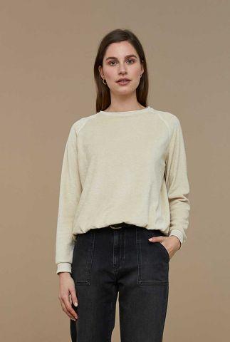 ecru kleurige sweater van badstof teddy slub sweater