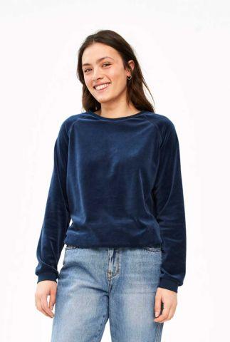 donkerblauwe velvet sweater teddy velvet
