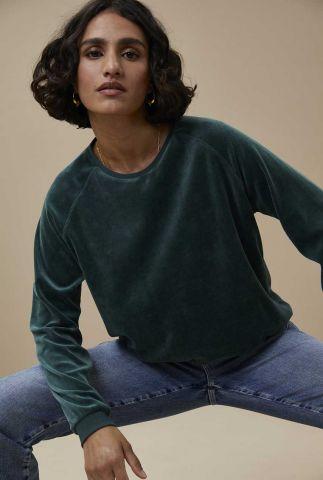 donkere groene velvet sweater teddy velvet sweater