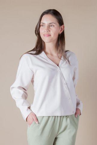 korte beige blouse met chuine knoopsluiting tei shirt l/s