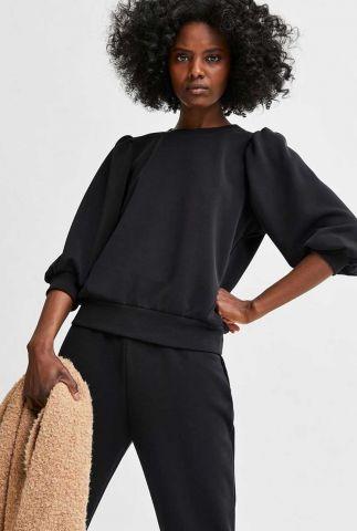 zwarte sweater met pofmouw tenny sweat top 16082379