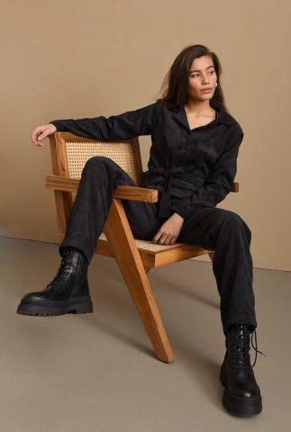 zwarte corduroy jumpsuit met ceintuur terry rib jumpsuit