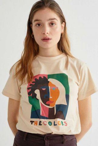 beige kleurig t-shirt met opdruk the color t-shirt wts00170