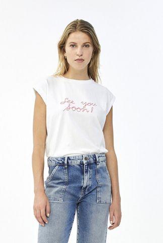 wit t-shirt met rood geborduurde tekst see you soon thelma top