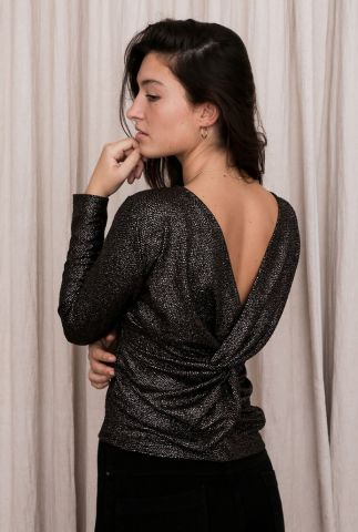 zwarte top met knoopdetail op rug en glanzende stippen cherry knot longsleeve