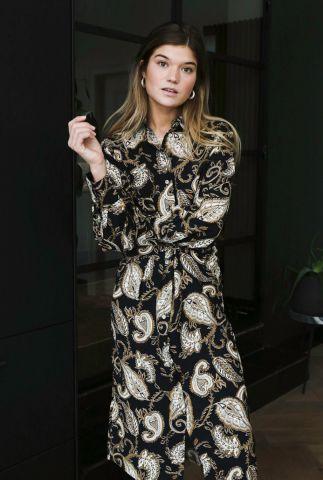 lange doorknoop jurk met paisely print jeanne dress