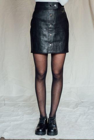 korte zwarte imitatie leren rok met drukknopen lina leather skirt