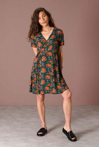 petrol jurk met oranje bloemen dessin fabienne flower wrap dress