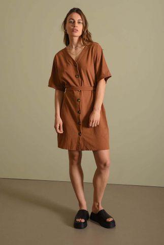 bruine v-hals jurk met knoopsluiting en ceintuur lola dress