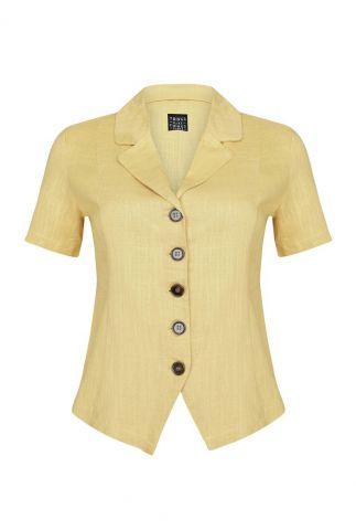 Gele linnen blouse met korte mouw en reverskraag  anna button