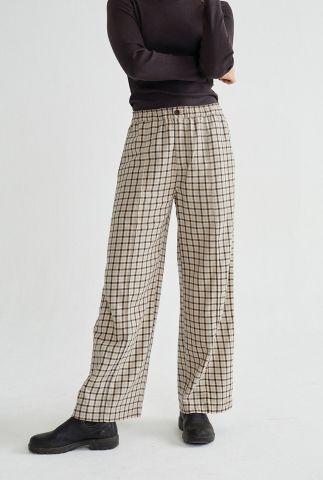 beige broek met ruiten dessin small checks maia wpt00055