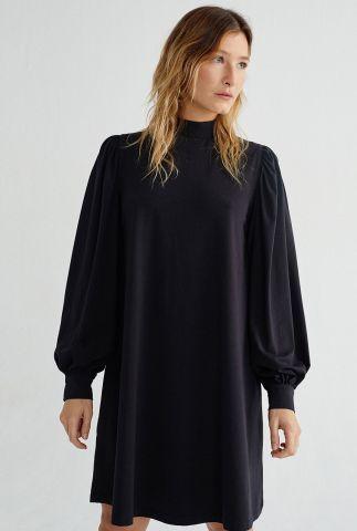 zwarte a-lijn jurk van biologisch katoen black flora wdr00069