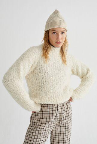 off-white gebreide trui van alpaca mix white trash cotys wkn00061