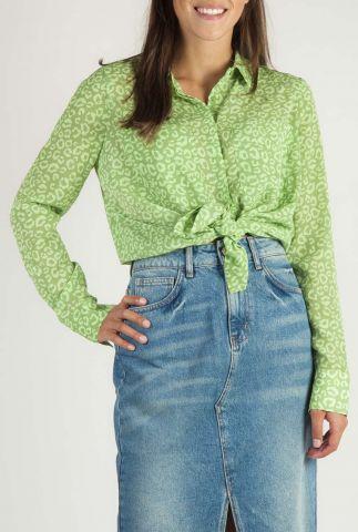 groene blouse met luipaard print dreiser animal l/s