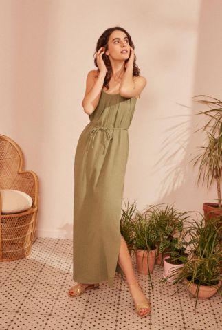 groene katoenen maxi jurk met ceintuur en zijsplit tiany