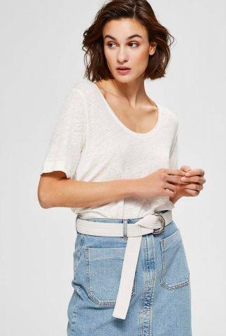 wit linnen t-shirt met ronde hals tilde linen tee 16074657