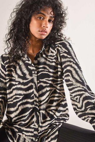 zwarte blouse met relaxed fit en zebra print sacha striped blouse