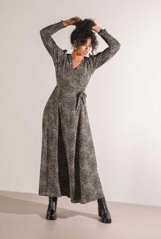 zwarte maxi wikkel jurk met stippen dessin suzie smock dress