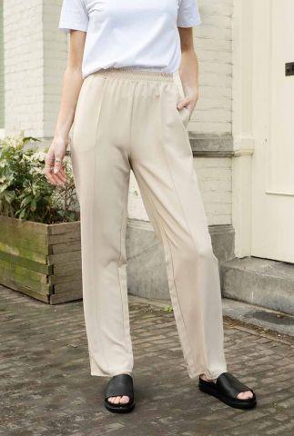 beige broek met elastische tailleband nina pants