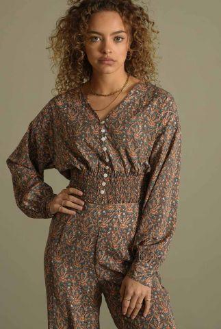korte blouse met elastische band en paisley print olein top