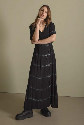 zwarte maxi jurk met tie-dye effect jurk sonia batik dress