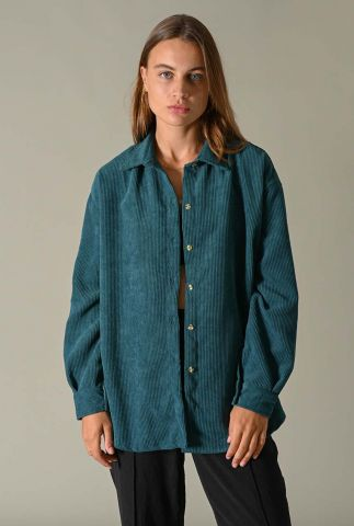 petrolkleurige oversized blouse met rib dessin corduroy blouse petrol
