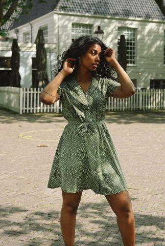 olijfgroene jurk met v-hals en stippen print dora dotted dress
