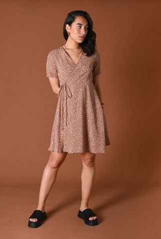viscose jurk met witte all-over print fabienne flower wrap dress