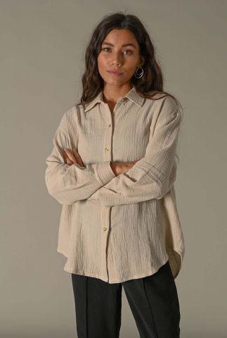 beige oversized blouse met wafeldessin heidi blouse