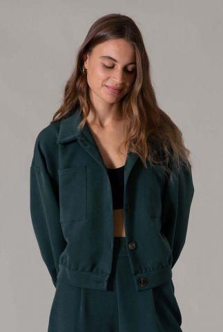 donkergroene oversized jas met kraag josha jacket